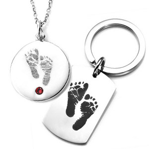 engraved baby footprint necklace