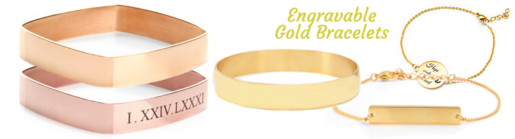 engraved gold bracelets for her and him