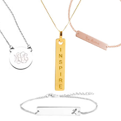 engraved minimalist jewelry for women