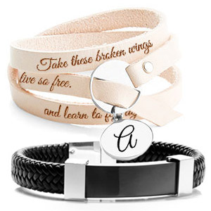 Mens Engraved Bracelets Personalized Leather