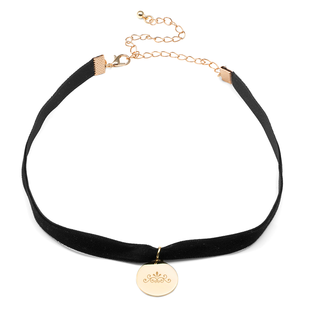 Jane Black Velvet Engraved Choker Necklace inset 2