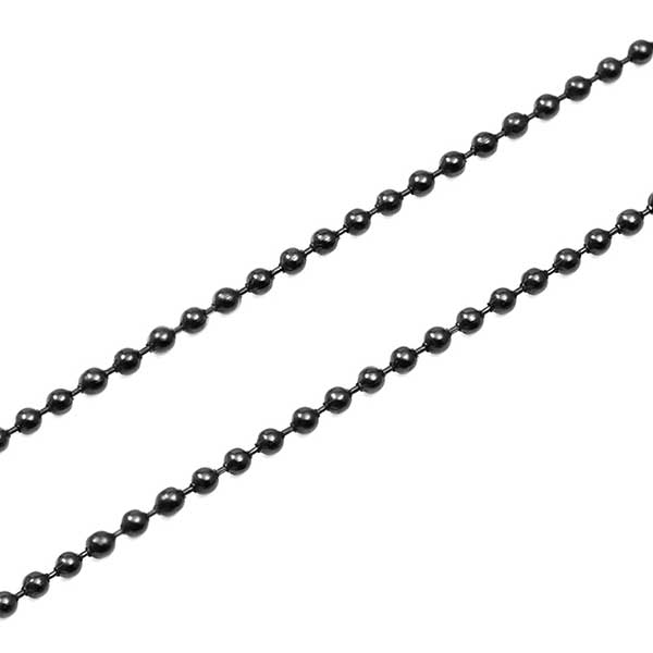 Black Personalized Bar Tag Necklace with Black Bead Chain inset 1