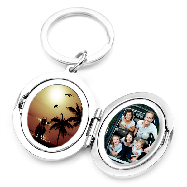 Silver Personalized Locket Keychain  inset 2