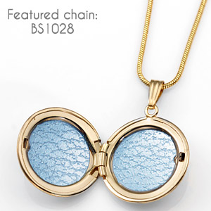 Gold Filled Round Engraved Lockets Necklace  inset 2