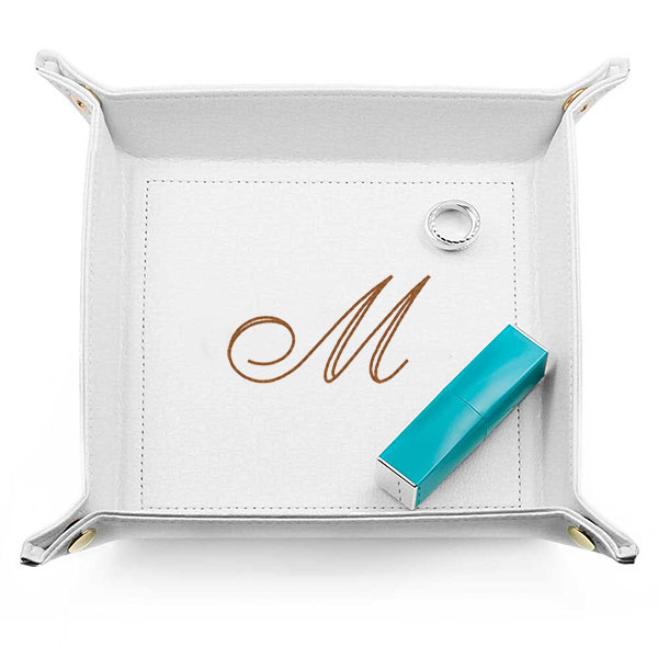 White Faux Leather Catch-All Tray inset 1