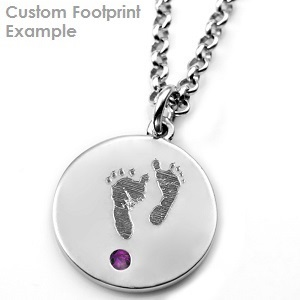 Baby Footprint & Birthstone - Round Sterling Necklace inset 1