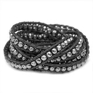 Hematite Bead Black Leather Multi Wrap Bracelet & ID Tag inset 1