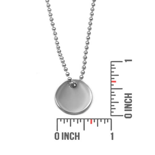 Silver Engraved Charm Necklace with 5/8 inch Round Charm inset 1