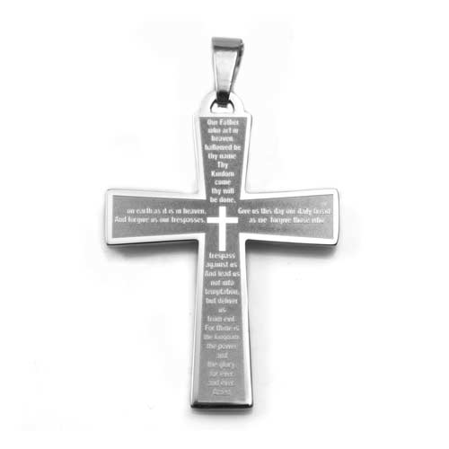 Lords Prayer Cross Stainless Engraved Necklace inset 1