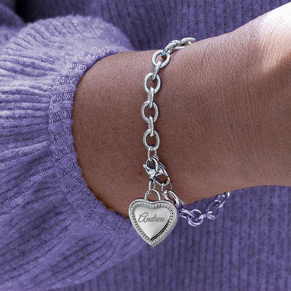 Engraved Heart Charm Bracelet inset 1
