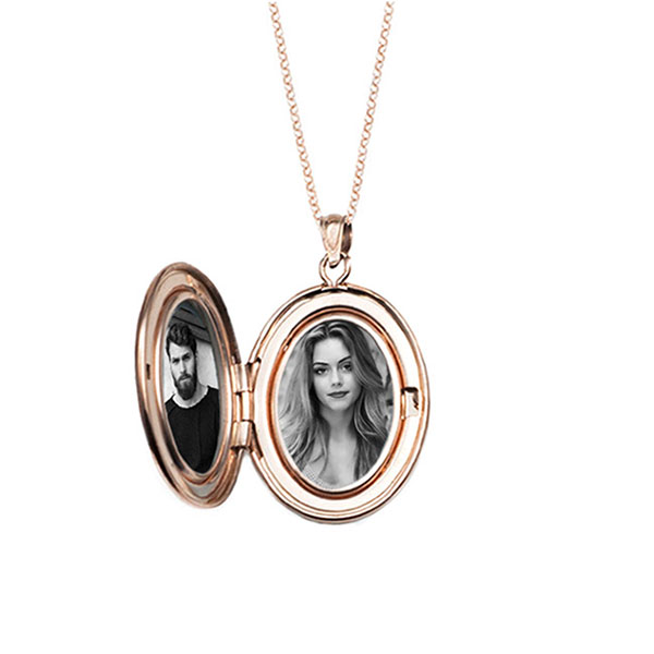 Rose Gold Engraved Handwriting Locket Necklace inset 1