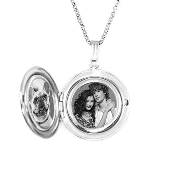 Diamond Accent Personalized Locket Handwriting Necklace inset 1