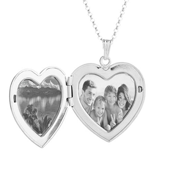 Silver Heart Personalized Locket Handwriting Necklace inset 1
