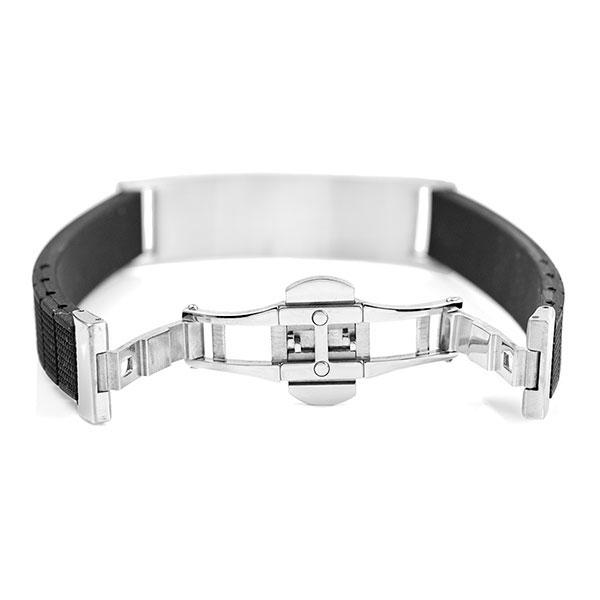 Black Rubber and Steel Mens Engraved Bracelet inset 2