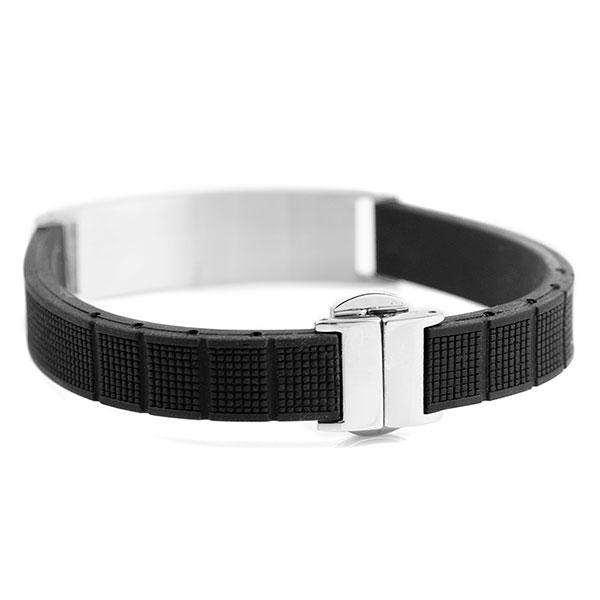 Black Rubber and Steel Mens Engraved Bracelet inset 1