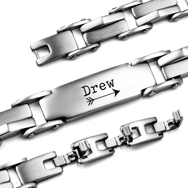 Silver Chain Links Personalized Bracelets for Him inset 3