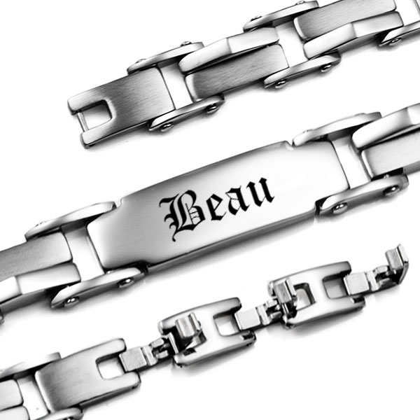 Silver Chain Links Engraved Bracelets for Him inset 2