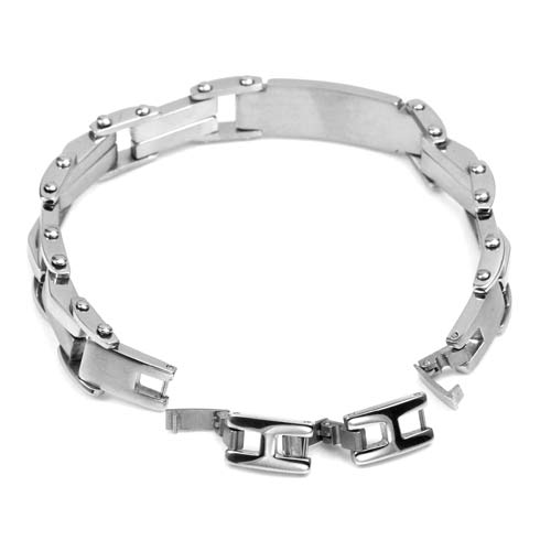 Silver Chain Links Engraved Bracelets for Him inset 1