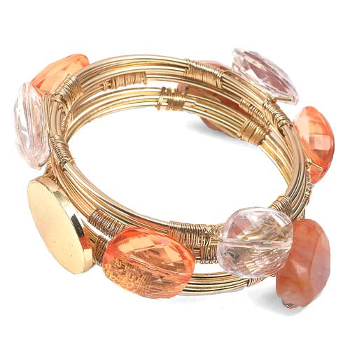 Tangerine Dream Engraved Wire Wrap Bracelet Set with Stones inset 1
