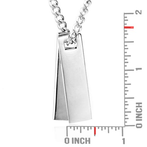 Engraved Double Tag Necklace 20 In inset 1