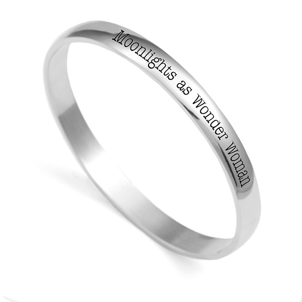Brilliant Silver Bangle Personalized Bracelets for Her inset 1