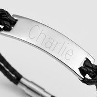Personalized Black Leather ID Bracelet inset 1