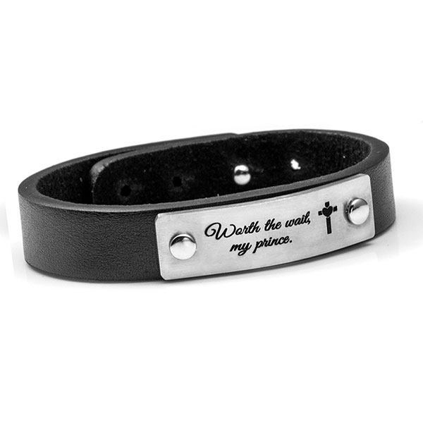 Adjustable Black Leather ID Bracelet inset 2