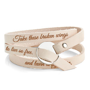 Adjustable Tan Wrap Leather Personalized Bracelet inset 2