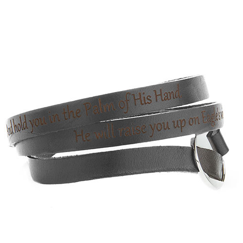 Engravable Black Leather Wrap Bracelet inset 3