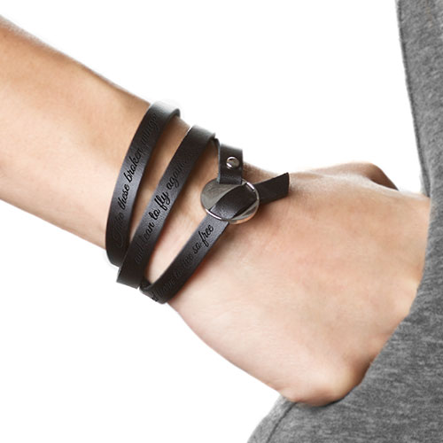 Engravable Black Leather Wrap Bracelet inset 1