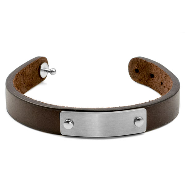 Adjustable Brown ID Leather Engraved Bracelet inset 1