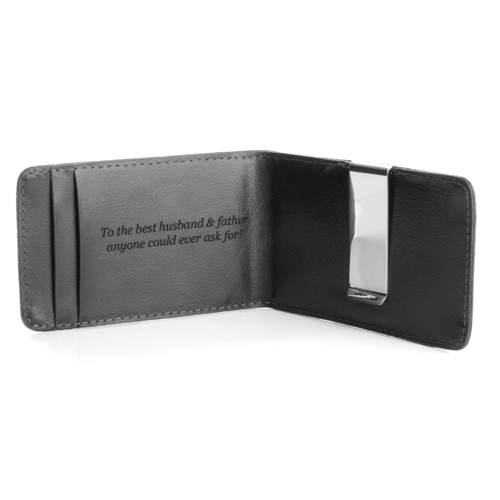 Hunter Monogrammed Mens Genuine Leather Money Clip Wallet inset 2