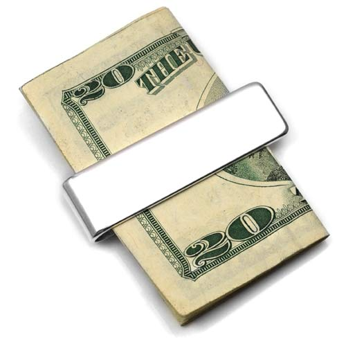 Engraved Sterling Silver Slim Money Clip  inset 1