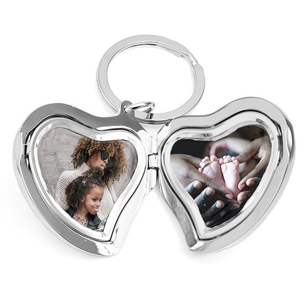 Heart Photo Locket Personalized Keychain inset 1