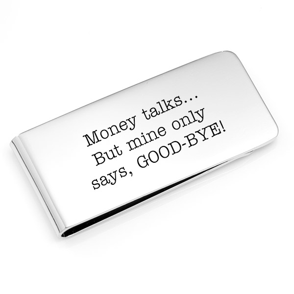 Silver Engraved Money Clip 2 x 1 inch inset 1