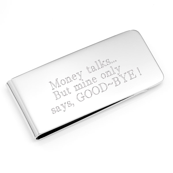 Silver Engraved Money Clip 2 x 1 inch inset 2
