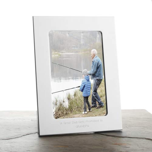 Engraved Silver Picture Frame for 4 x 6 In Photo inset 1