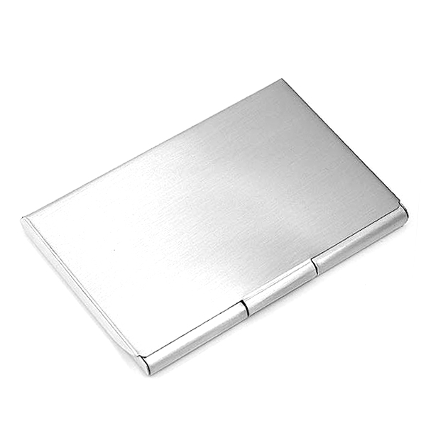 Brushed Silver Plated Business Card Holder inset 1