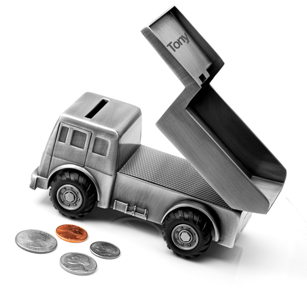 Childrens Dump Truck Coin Bank inset 1