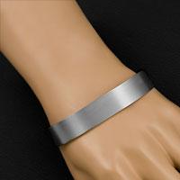 Personalized Brushed Titanium Cuff Bracelet Large inset 1