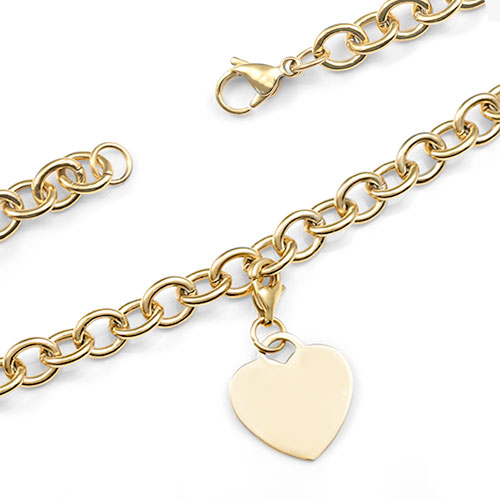 Engraved Gold Cable Link Heart Charm Bracelet 7 In inset 1