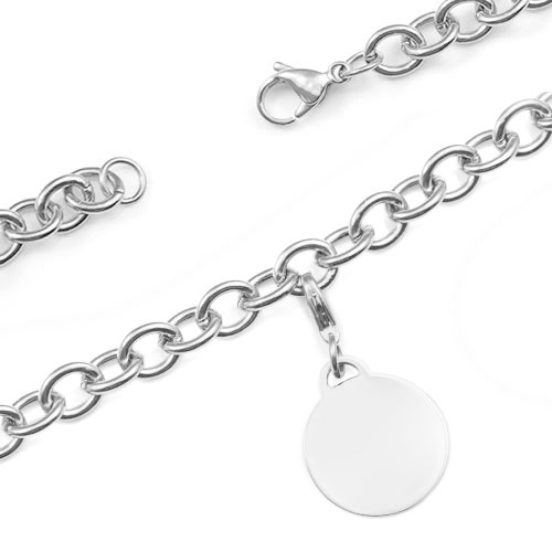 Custom Engraved Silver Cable Link Charm Bracelet  inset 1