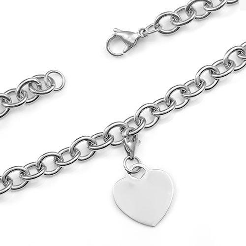 Your Personalized Silver Cable Link Heart Charm Bracelet  inset 1