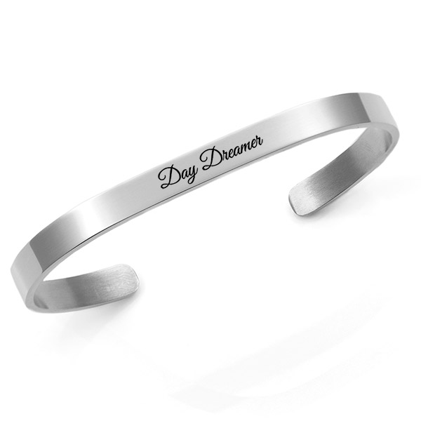 Engraved Rhodium Cuff Bracelet 5.5mm Medium inset 1