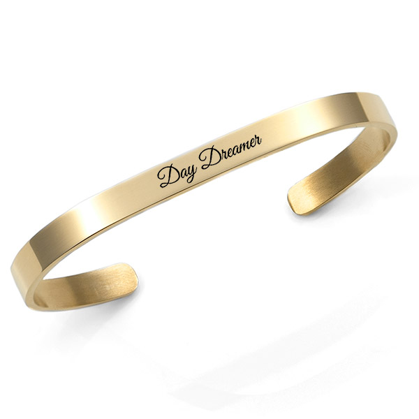 Engraved Gold Cuff Bracelet 5.5mm Medium inset 1