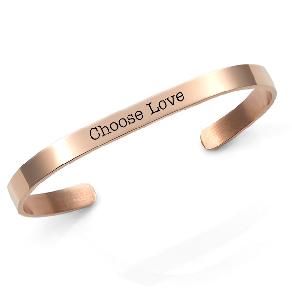 Chic Rose Gold Cuff Engraved Bracelets for Her inset 1