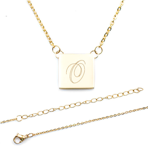 Claire Square Gold Engraved Necklace inset 1