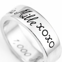 A Thousand Kisses Stainless Steel Engraved Rings sz 5 and sz 11 inset 2