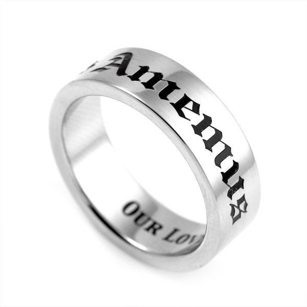 Our Love is Forever Engraved Stainless Ring Size 9 inset 1