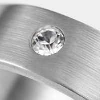 Brushed Steel Crystal Adorned Custom Rings inset 1